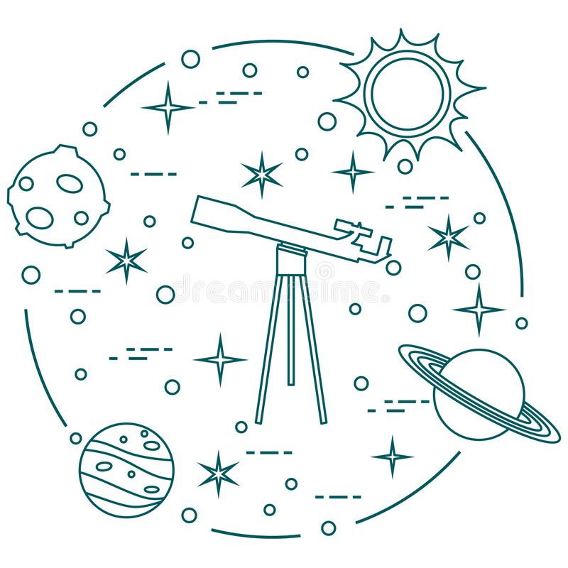 Science: telescope, sun, moon, planets, stars. vector illustration