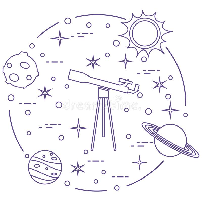 Science: telescope, sun, moon, planets, stars. royalty free illustration