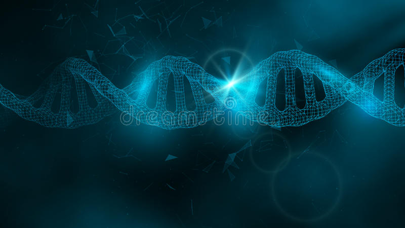 Blue wallpaper or banner with a DNA molecules of polygons stock illustration