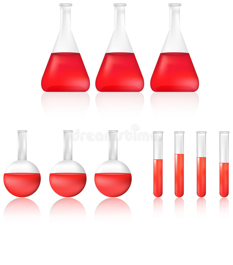 Science test tube and beaker with red chemical liquid icon set vector illustration