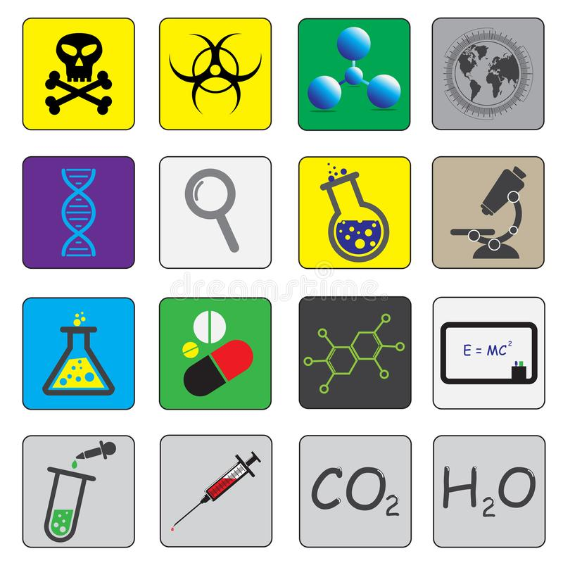 Science theme vector icons. Is a general illustration stock illustration