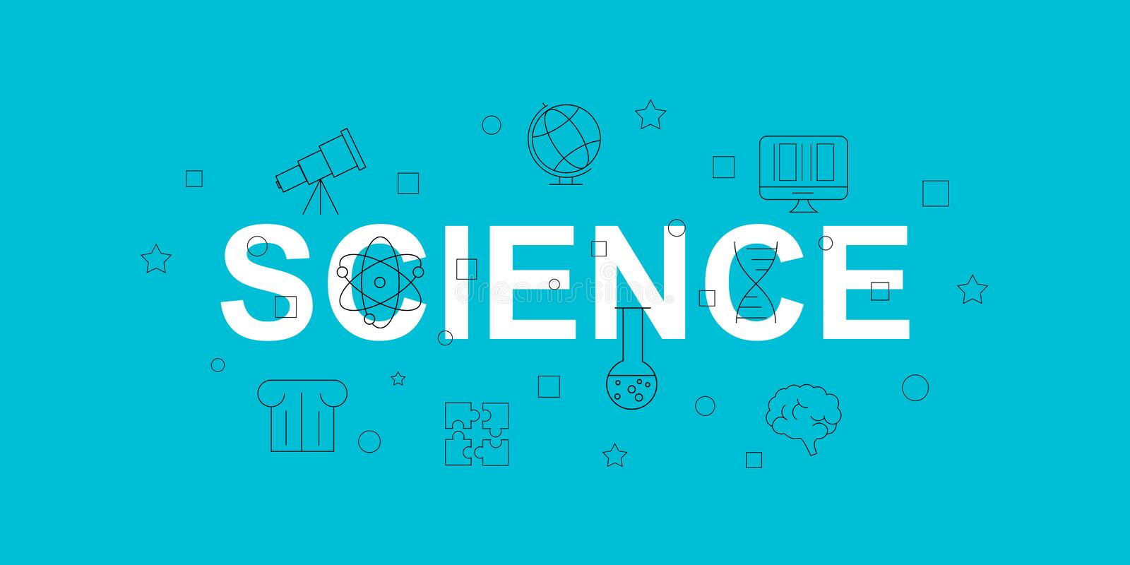 Science vector banner. Word with line icon. Vector background. Vector illustration stock illustration