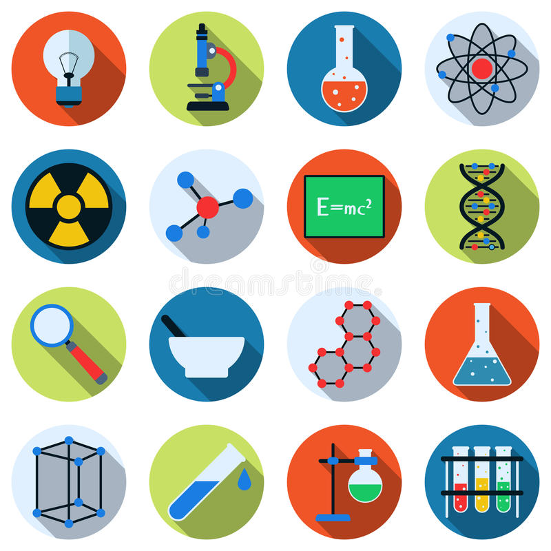 Science vector icons royalty free illustration