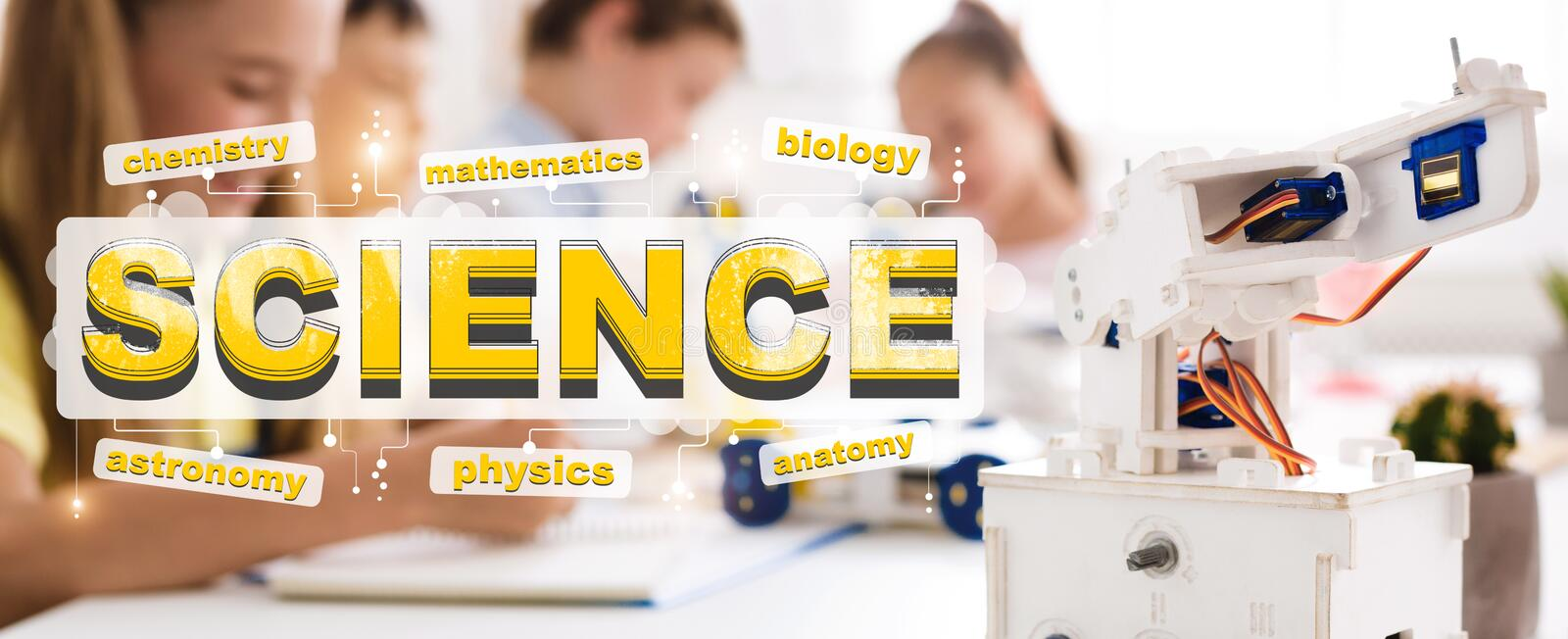 Science word and robot. Classroom with studying children stock image
