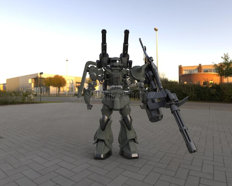 Sciencefiction mir-ch-Soldat, der auf einem Landschaftshintergrund steht Milit?rischer futuristischer Roboter mit einem Gr?n und  lizenzfreie abbildung