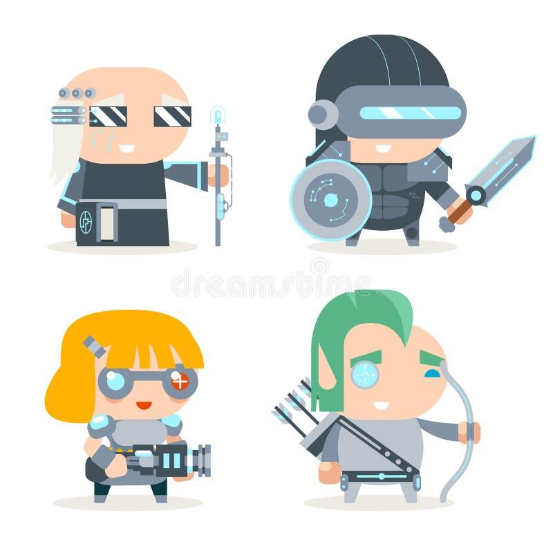 Sciencefictions-Fantasie Techno-Ritter-Cybernetic Technomage Programmer-Ingenieur RPG-Spiel-Charakter-Vektor-Ikonen eingestellter vektor abbildung