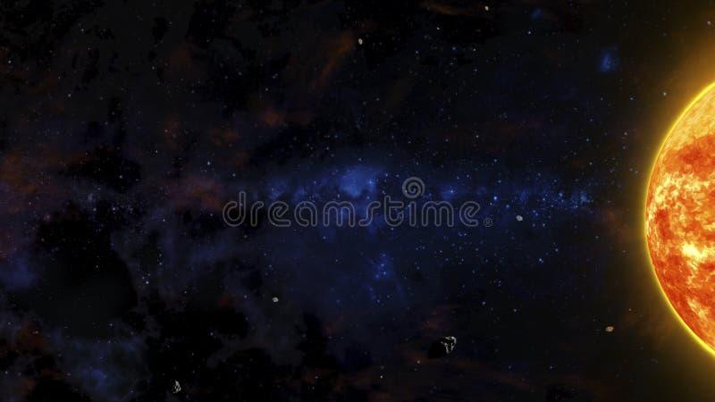Sciencefictions-Weltraum-Szene mit rotem Stern, Asteroiden und Nebelflecken stock abbildung