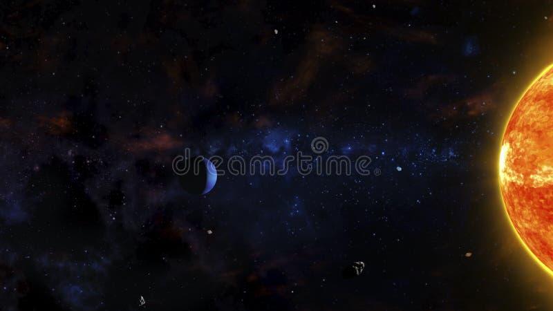 Sciencefictions-Weltraum-Szene mit rotem Stern, Gas-Planeten, Asteroiden und Nebelflecken lizenzfreie abbildung