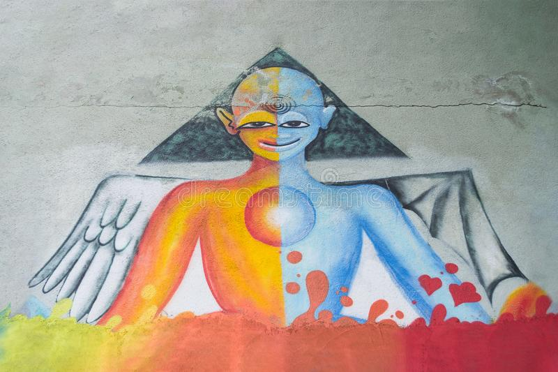 Sciencefictionscharakter-Graffitikunst lizenzfreie stockfotos