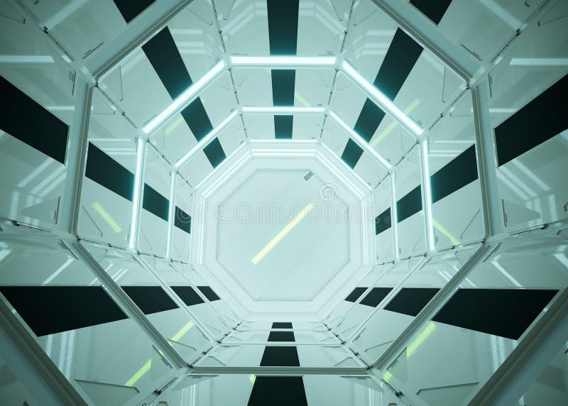 Sciencefictionsinnenraum UFO - ausl?ndisches Raumschiff futuristisch Lustige Karikatur und Abbildung Technologie, Zukunft stockbilder
