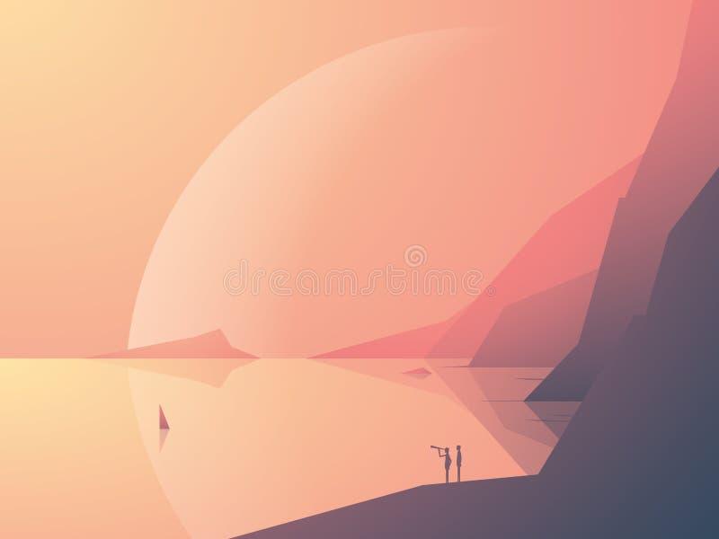 Sciencefictionsphantasielandschaftsvektor-Illustrationshintergrund mit Ozeanbucht und Planet im Hintergrund Symbol des Abenteuers lizenzfreie abbildung