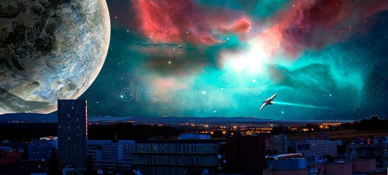 Sciencefictionsstadt mit Nebelfleck, Planeten und Raumschiffen, Foto manipulati stock abbildung