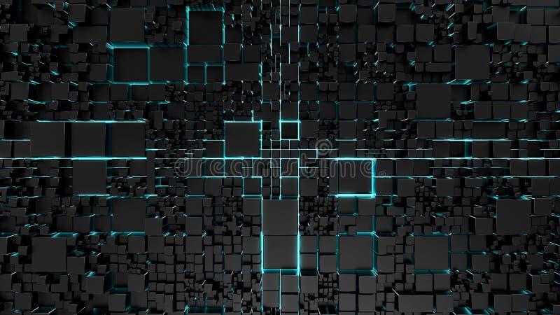 Sciencefictionstechnologiehintergrund mit blauer Neonbeleuchtung stockbild
