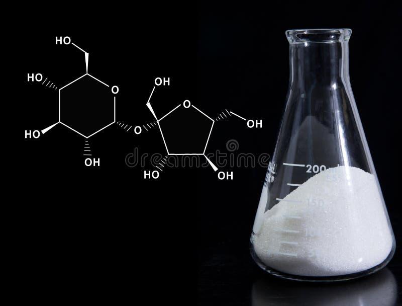 Sciences de l'alimentation - sucre avec la formule moléculaire photo libre de droits