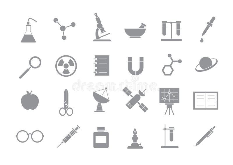 Sciense szarość ikony royalty ilustracja