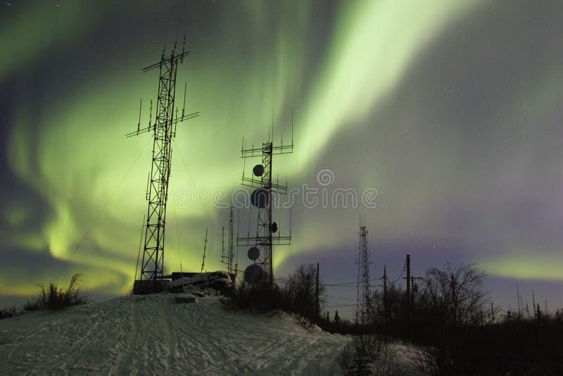 Scientific Antennas Under Night Sky With Northern Lights Free Stock Photos