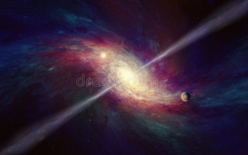 Space-time warping concept, bright quasar in deep space royalty free stock photo