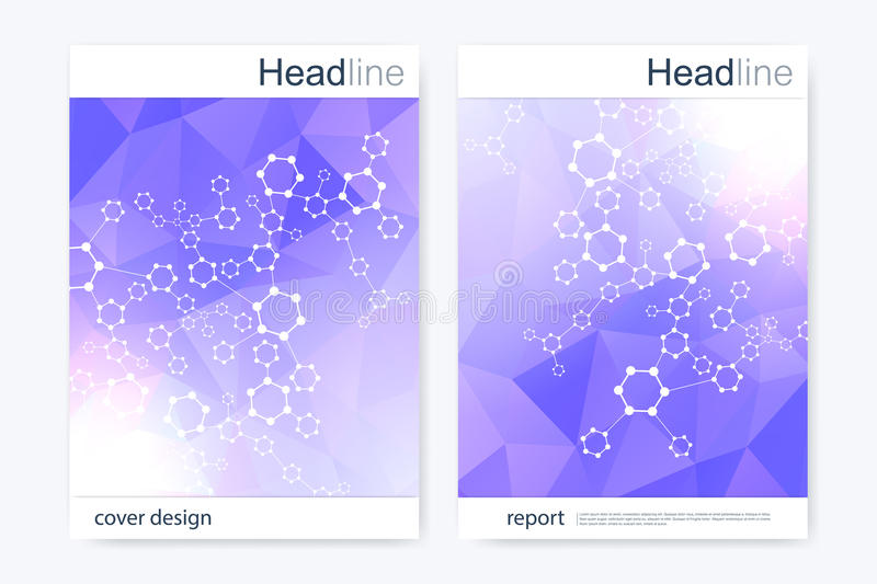 Scientific brochure design template. Vector flyer layout. Hexagonal molecule structure. DNA with connected lines and dots. Scientific colorful polygonal pattern vector illustration