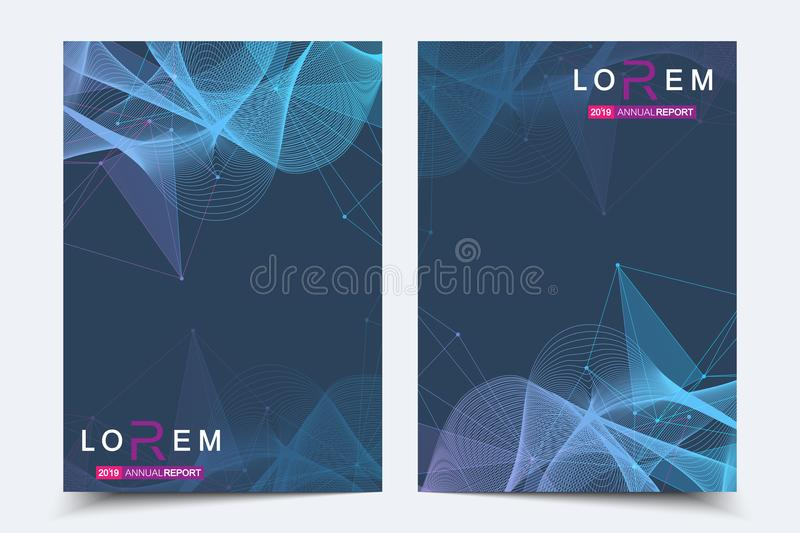 Scientific brochure design template. Vector flyer layout, Molecular structure with connected lines and dots. Scientific. Pattern atom DNA with elements for vector illustration