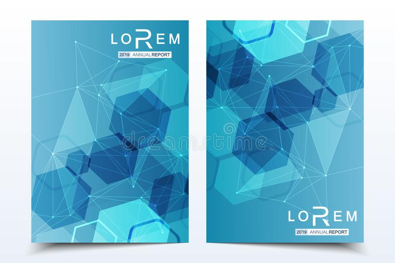 Scientific brochure design template. Vector flyer layout, Molecular structure with connected lines and dots. Scientific. Pattern atom DNA with elements for stock illustration