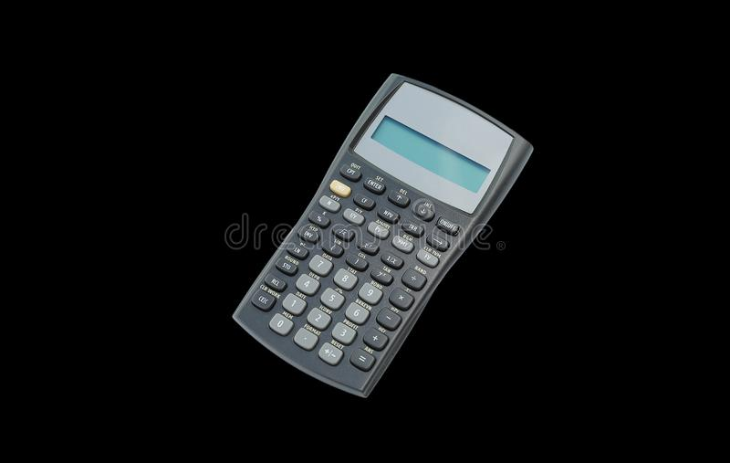 Scientific calculator on black isolated background royalty free stock image