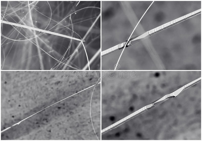 Scientific collage. Crystal in electron microscope royalty free stock image