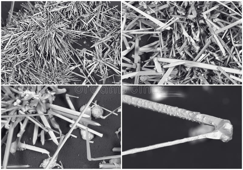 Scientific collage. Crystal photo from electron microscope royalty free stock photos