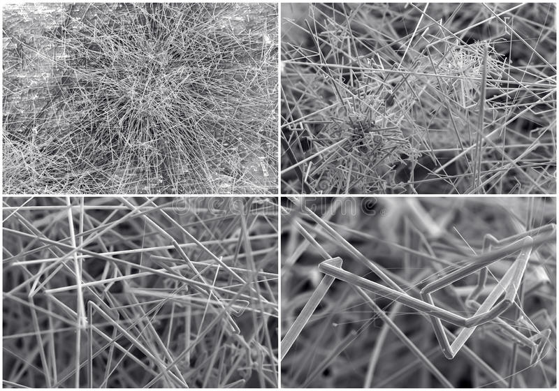 Scientific collage. Crystal photo from electron microscope stock photography