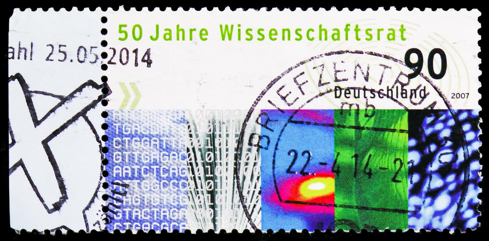 Scientific council, 50th Anniversary of Council of science and Humanities serie, circa 2007. MOSCOW, RUSSIA - FEBRUARY 22, 2019: A stamp printed in Germany royalty free stock photography