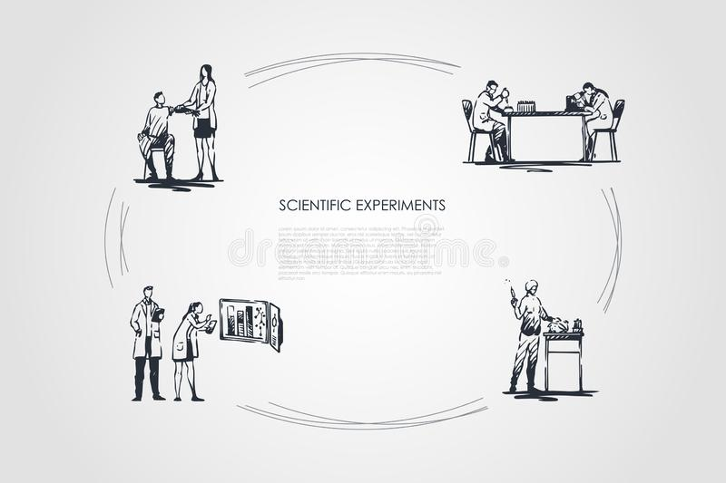 Scientific Experiment - medical workers making experiments with blood and tests in laboratory vector concept set. Hand drawn sketch isolated illustration vector illustration