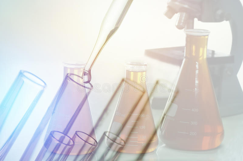 scientific experiments, Laboratory equipment and test tubes- science concept royalty free stock photos