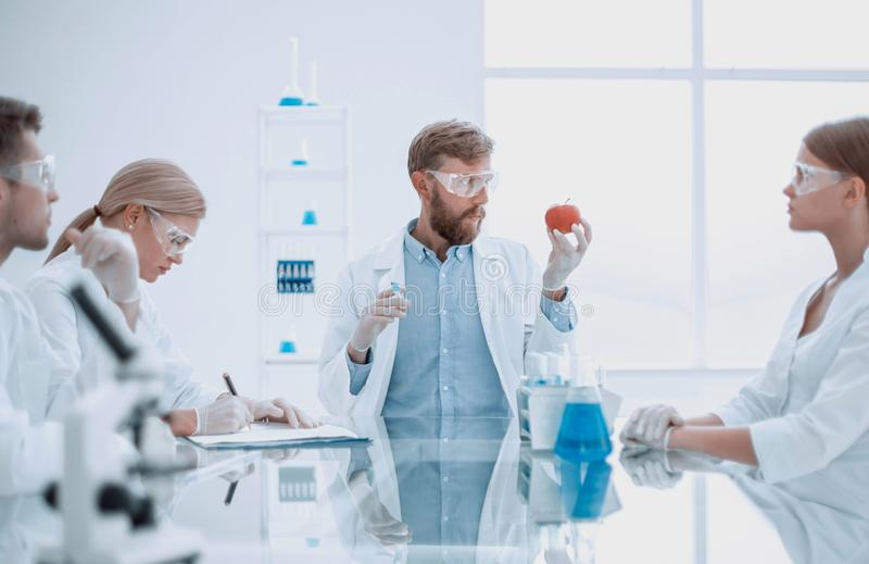 Scientific expert checking the quality of fruits. royalty free stock photos