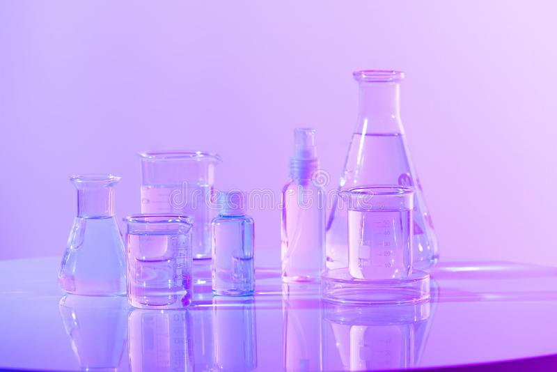 Scientific Glassware For Chemical, Laboratory Research.  royalty free stock photography