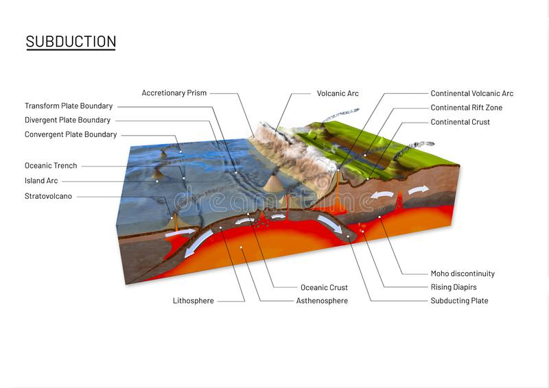 Scientific ground cross-section to explain subduction and plate tectonics. With labels - 3d illustration royalty free illustration