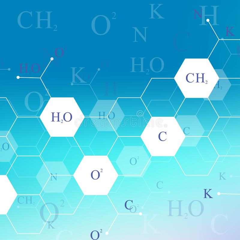 Scientific hexagonal chemistry pattern. Structure molecule DNA research as concept. Science and technology background stock illustration