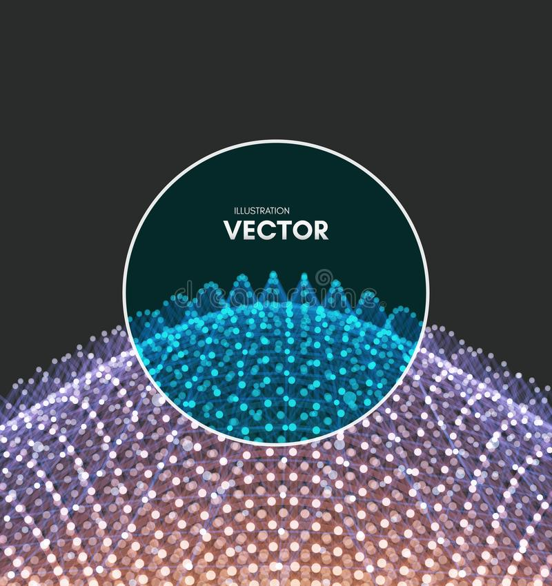 Scientific illustration with connected lines and dots. Luminous microscopic forms. Glowing grid. Connection structure. Wireframe vector illustration stock illustration