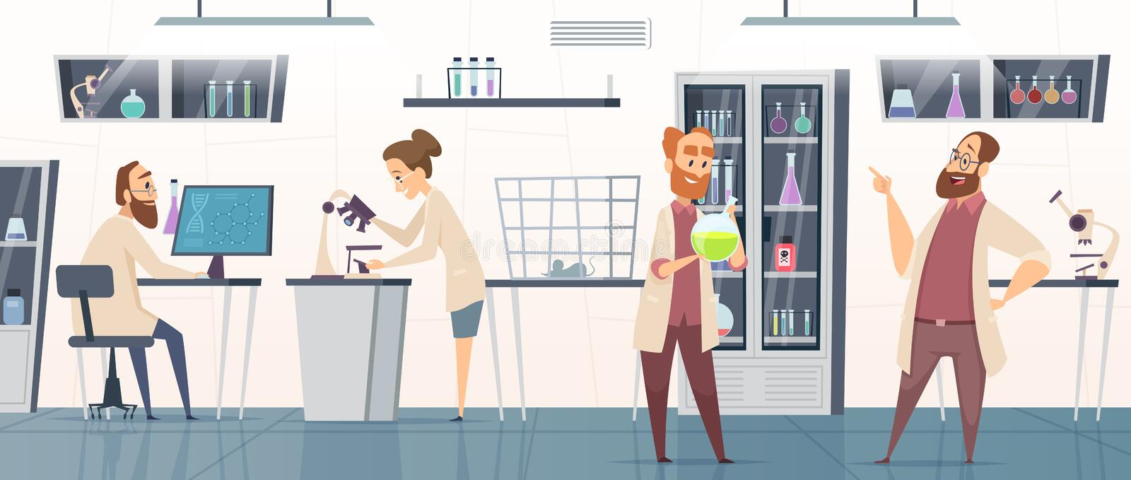 Scientific laboratory. Interior modern chemical pharmaceutical medical lab with people working innovation technology vector illustration