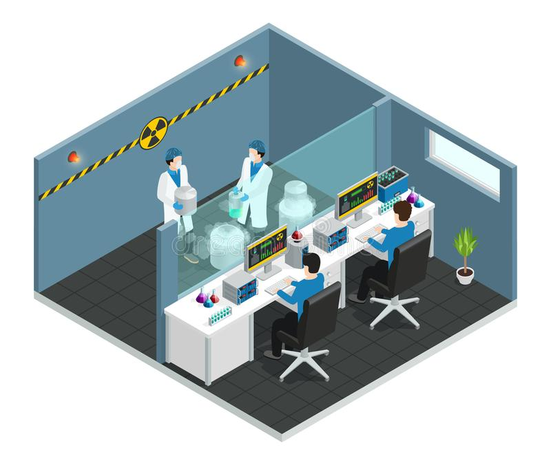 Scientific Laboratory Isometric Concept. With assistants working in medical chemical or biological lab interior vector illustration stock illustration
