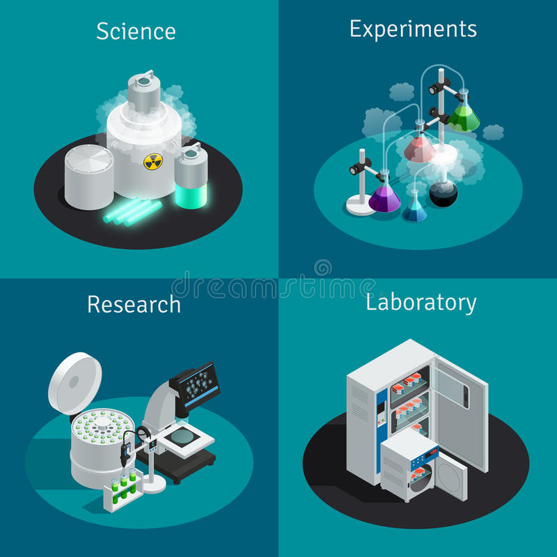 Scientific Laboratory 2x2 Isometric Design Concept. With substance for experiment and equipment for research vector illustration vector illustration