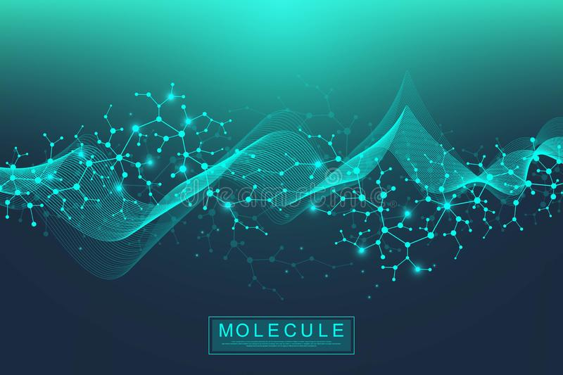 Scientific molecule background DNA double helix illustration with shallow depth of field. Mysterious wallpaper or banner vector illustration