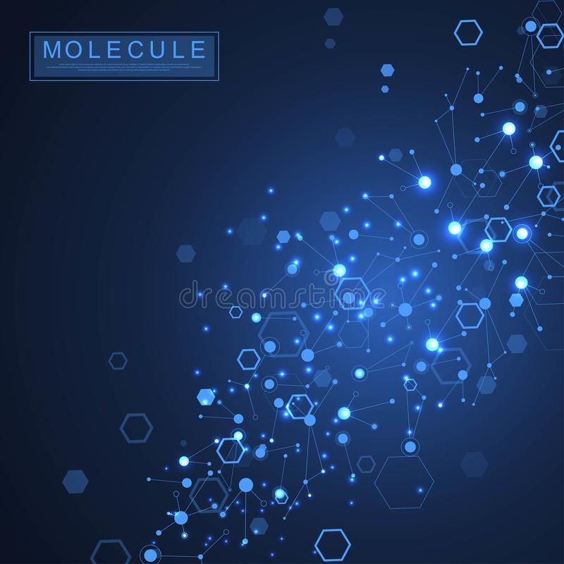 Scientific molecule background DNA double helix illustration with shallow depth of field. Mysterious wallpaper or banner royalty free illustration