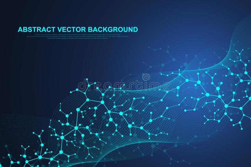 Scientific molecule background for medicine, science, technology, chemistry. Waves flow. Wallpaper or banner with a DNA. Molecules. Vector geometric dynamic stock illustration