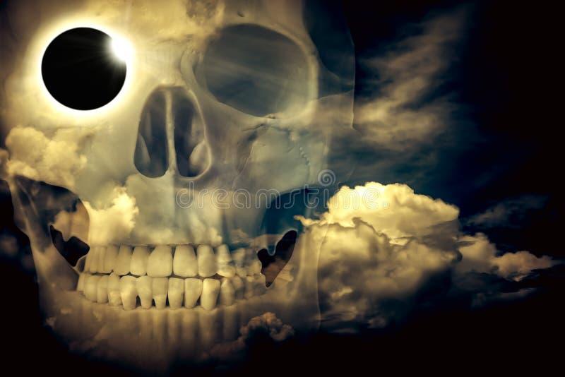 Scientific natural phenomenon. Total solar eclipse with diamond. Amazing scientific natural phenomenon. Double exposure of total solar eclipse with diamond ring stock photo