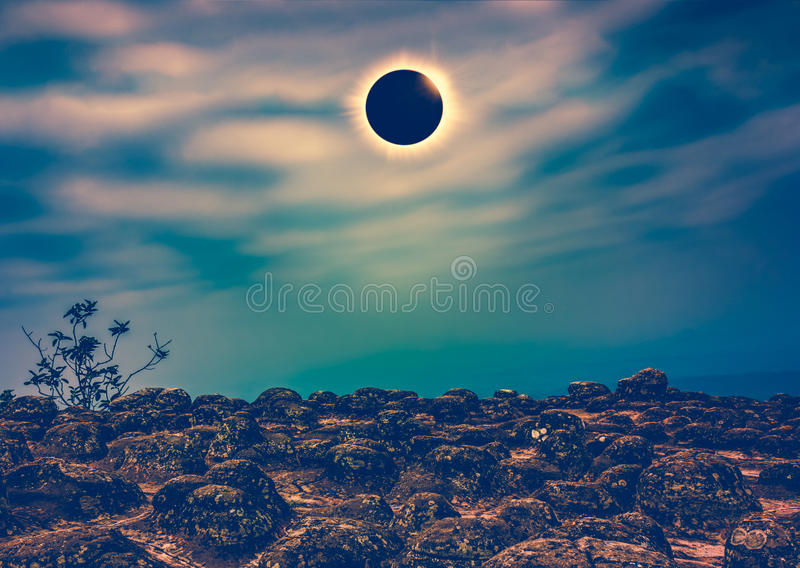 Scientific natural phenomenon. Total solar eclipse with diamond ring effect. Amazing scientific natural phenomenon. Total solar eclipse with diamond ring effect stock photos