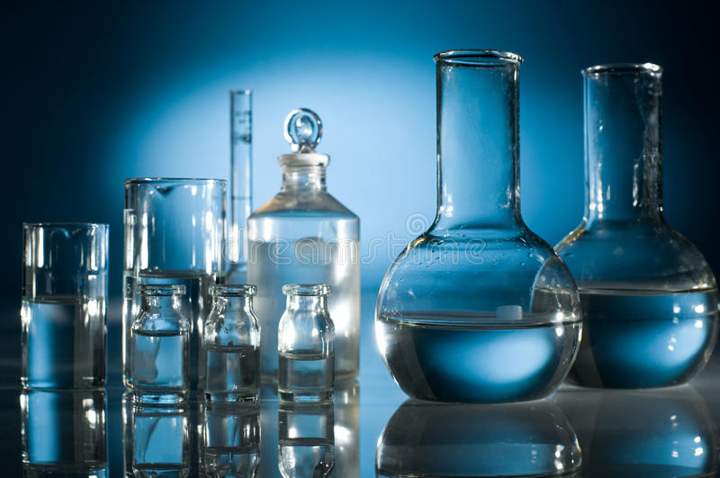 Scientific research. Technology and scientific research test-tubes stock photography