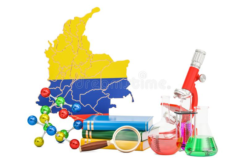 Scientific research in Colombia concept, 3D rendering stock illustration