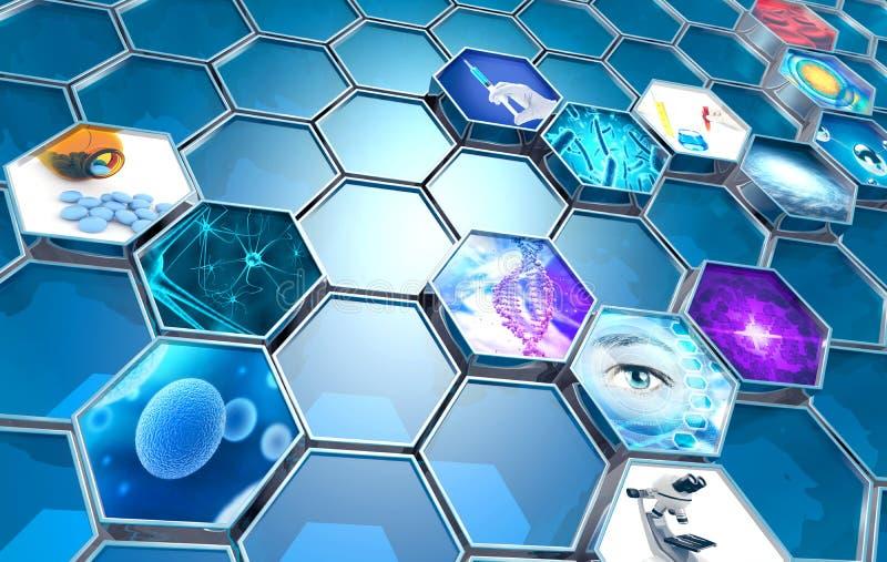 Scientific research concept. Hexagonal backdrop, 3d illustration vector illustration