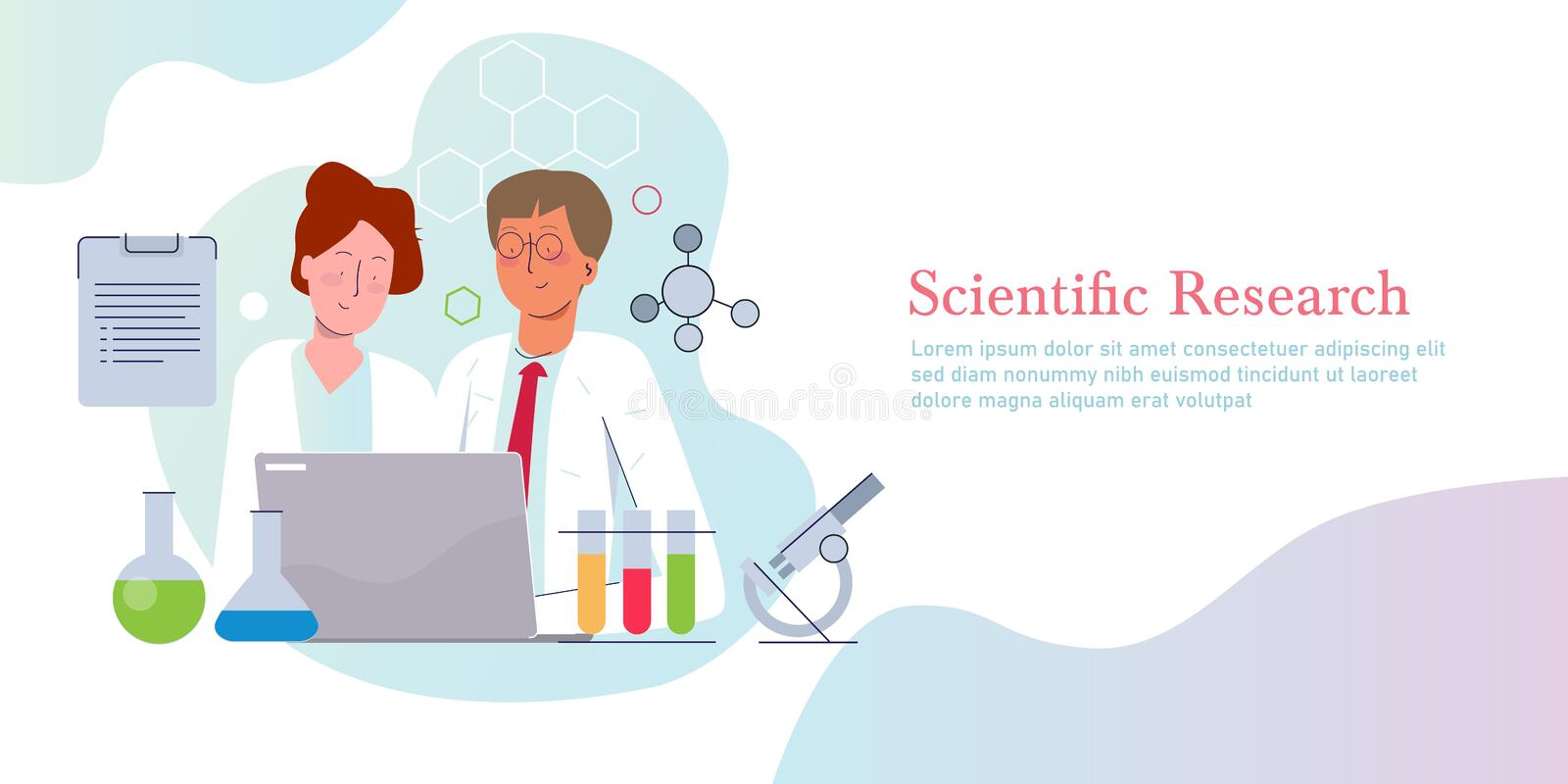 Scientific research. Concept of science discovery in laboratory vector illustration gradient flat stock images