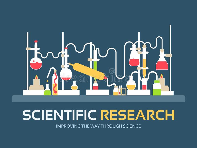 Scientific research in flat design background concept. laboratory equipment supplies with chemistry tools. Icons for your product stock illustration