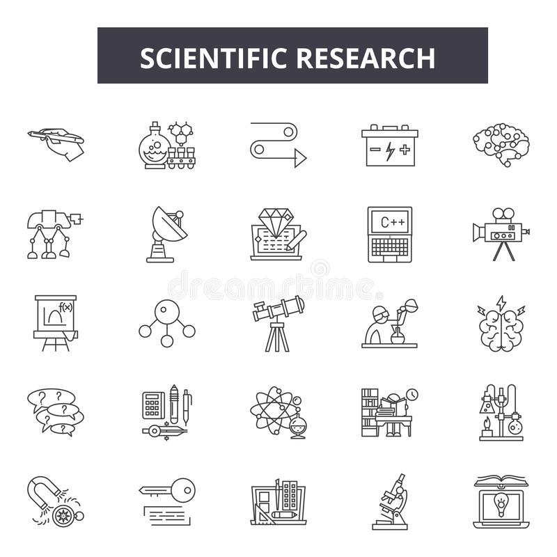 Scientific research line icons, signs, vector set, outline illustration concept. Scientific research line icons, signs, vector set, outline concept illustration stock illustration